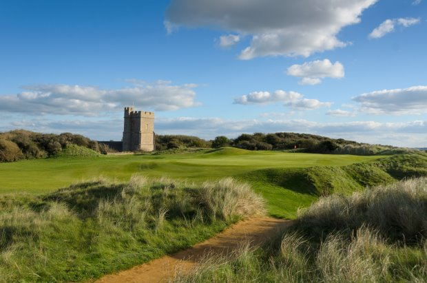 Looking towards the 12th green of Burnham & Berrow, one of the championship links in the Atlantic Links trail
