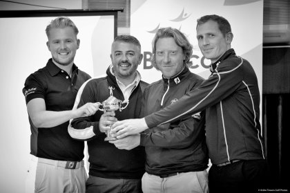 The PGA professionals involved in the BeaconButler Challenge Cup (from left) Adam Robinson (Mark Butler Academy), Mark Butler (Mark Butler Academy), Russell Adams (Gaudet Luce GC) and Robert Laing (Bromsgrove Golf Centre) along with participants and supporters of the new event (AT Golf Photos)