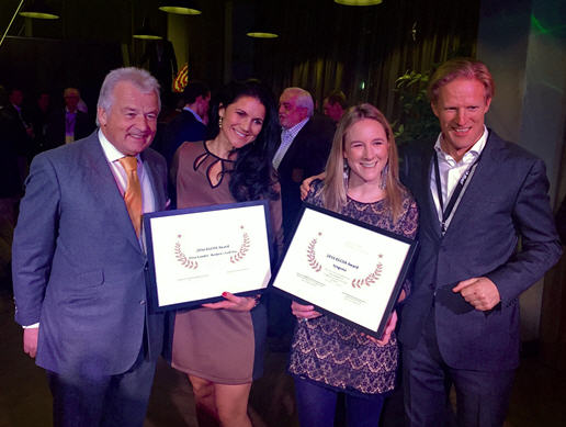Caroline Carroll of Syngenta (second from right) receives the contribution award for love.golf, alongside Elisa Gaudet of Women's Golf Day from the EGCOA's President, Alexander Baron von Spoercken (left), and CEO Lodewijk Kllotwijk