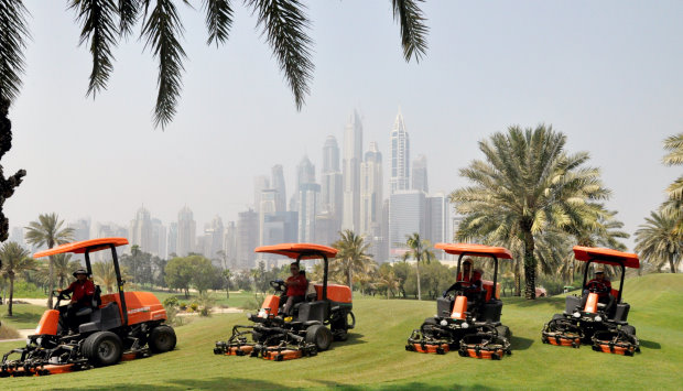 A selection of Jacobsen AR Rotary machines on the course at Emirates Golf Club