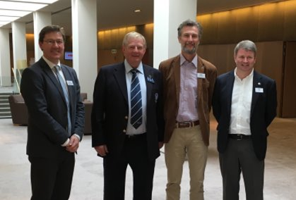 Delivering the Sustainability and Golf Sessions at the EGA Annual Meeting in Barcelona were (from left) Jonathan Smith GEO; Colin Wood EGA; Richard Holland WWF; and Steve Isaac The R&A