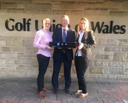 Golf Development chair Hannah Mawson (left) and Golf Union of Wales development director Hannah McAllister (right) receiving the insport Silver Award from Disabilty Sport Wales executive director Jon Morgan