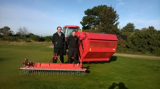 John Morton, Area Manager (North) for Fairways GM, with Richard Johnstone Course Manager for Nairn Dunbar Links together with the Wiedenmann Terra Rake 2.3m and Super 500