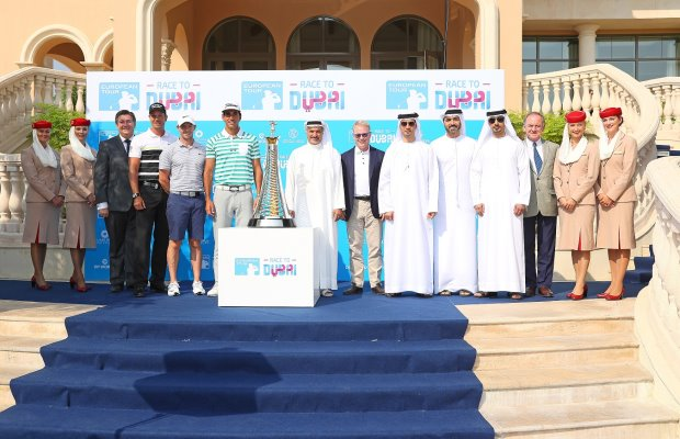 (from left) Julian Small, Managing Director, Club Operations, Jumeirah Golf Estates, Henrik Stenson, Rory McIlroy, Rafael Cabrera-Bello, His Excellency Saeed Hareb, Secretary General of Dubai Sports Council, Keith Pelley, CEO of European Tour, Abdulaziz Bukhatir, Executive Director, Jumeirah Golf Estates, Issam Kazim, CEO of Dubai Corporation for Tourism and Commerce Marketing (DCTCM) , Salman Bin Karam, Customer Relations Manager, Jumeirah Golf Estates, Peter Dawson, President of the International Golf Federation (Getty Images)