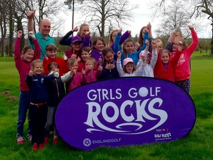 PGA coach Richard Strange with some of the Norwood Park Golf Centre girls taking part in the Girls Golf Rocks campaign