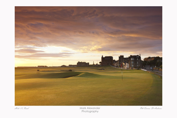 A mounted print of The Old Course, St Andrews