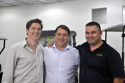 (from left) Charlie Simpson, Regional Sales Manager at Luxury Carts Arabia; Scott Forrest, Ransomes Jacobsen's International Business Development Manager; Morne Barnard, Regional Sales RJ & Product Support Manager at Luxury Carts Arabia