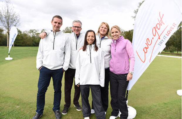 (from left) love.golf coaches Ollie Rush, Alastair Spink, Jil Luthringer and Nicola Stroud with Carin Koch