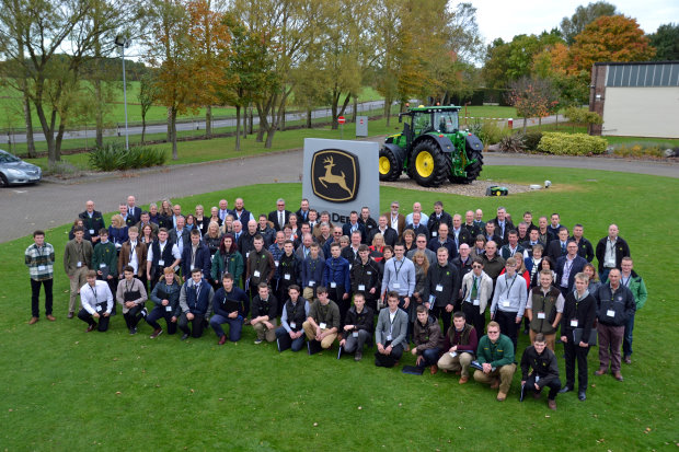 The new 2016/2017 intake of John Deere Ag, Parts and Turf Tech apprentices at Langar during their induction, along with family members and dealers