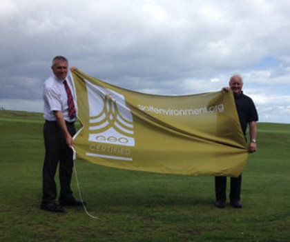 Chris Spencer and Stuart Greenwood from The North Berwick Golf Club with the clubs GEO Certified Flag
