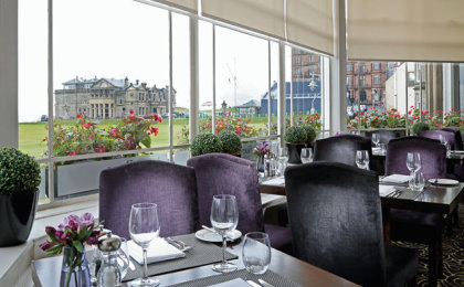 View from the Rocca Restaurant at Macdonald Rusacks Hotel, overlooking the 18thgreen of The Old Course at St Andrews