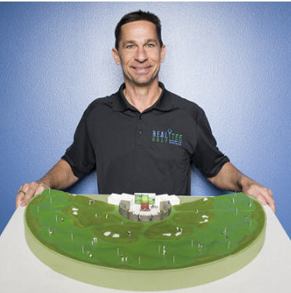 Golf founder Dave Shultz with a model of a venue's typical layout