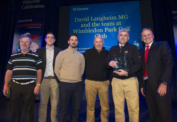David Langheim MG and the Wimbledon Park greenkeeping team are presented with their award