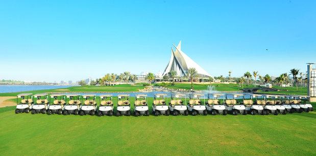A selection of the E-Z-GO RXV golf cars at Dubai Golf's Dubai Creek Golf & Yacht Club