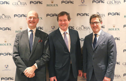 PGAs of Europe Honorary President, George O'Grady alongside outgoing Honorary President, Pierre Bechmann (left) and PGAs of Europe Chief Executive, Ian Randell