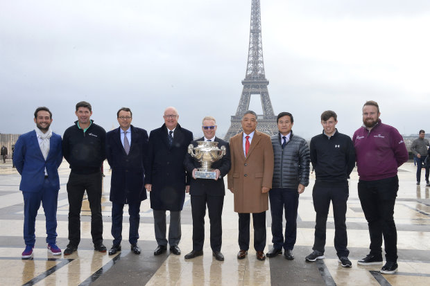 PARIS, FRANCE - JANUARY 09: (L-R) Alexander Levy, Padraig Harrington, Jean Louis Charon, Keith Pelley, Chen Wenli, Yang Guang, Matthew Fitzpaterick and Shane Lowry attend a photocall before the Open de France press conference on January 9, 2017 in Paris, France. (Photo by Aurelien Meunier/Getty Images)