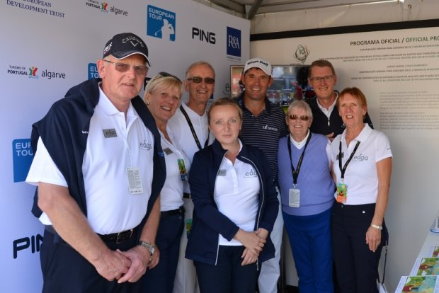 Jana (centre) and team with Padraig Harrington at the Portugal Masters
