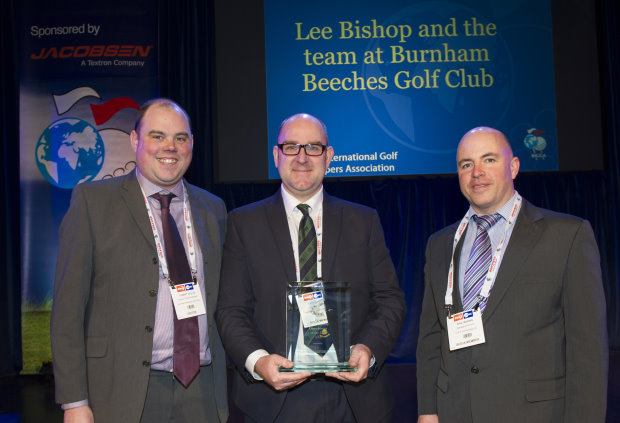 Lee Bishop and the Burnham Beeches GC team receive their award