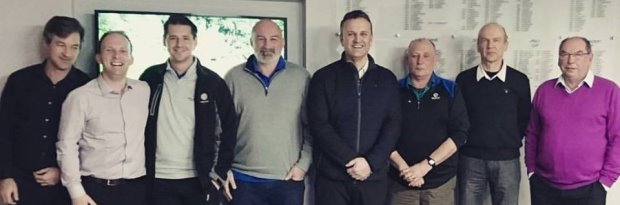 The new Stoke-on-Trent golf development group teed off with their first meeting (left to right) Jon Farmer (Trentham Park GC), Gareth Shaw (England Golf regional manager), Ben Johnson (England Golf Staffordshire county development officer), Andy Denison (Norton Bridge GC), Rob Grier (Trentham Park and Stone Driving Range), Steve Bowyer (Burslem), Iain Colville (Onneley) and Paul Holloway (Barlaston)