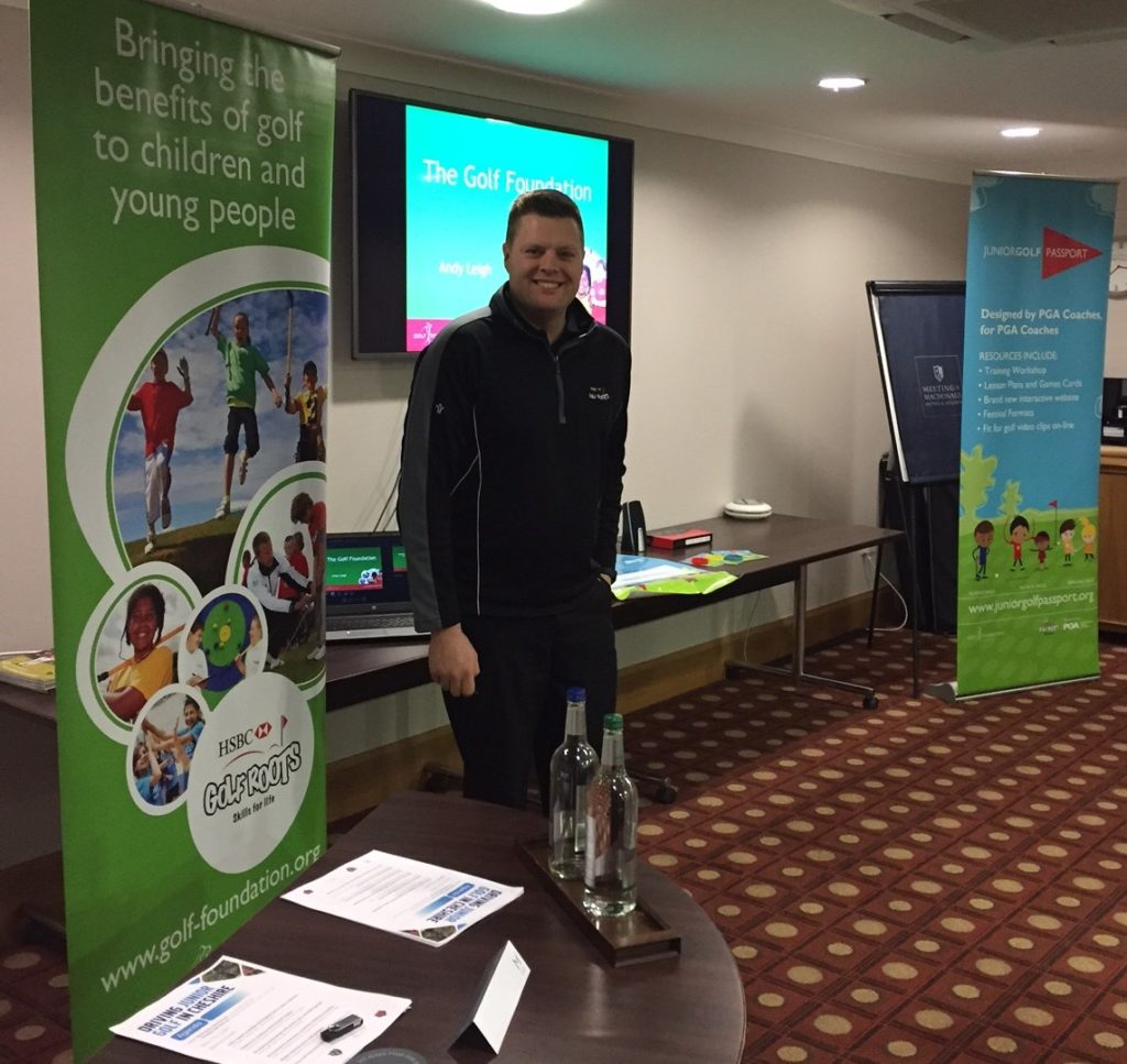 Andy Leigh, Regional Officer for The Golf Foundation, delivers his presentation to the Cheshire Golf Development Group's junior conference