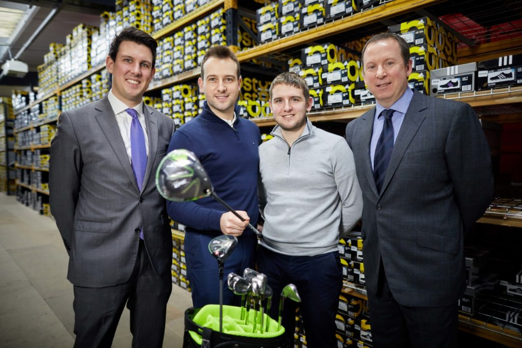 from left Matthew Pomroy (Foresight) Clubhouse Golf Directors Ben Reeves and Sam Reeves and new chairman Richard Styles