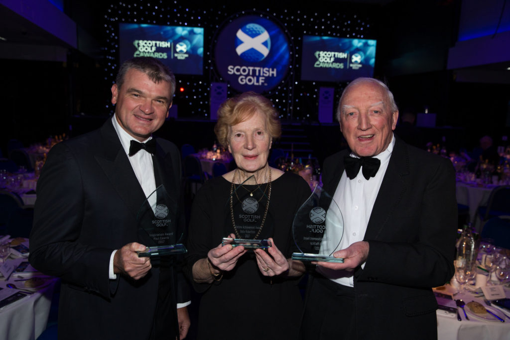 Paul Lawrie, Belle Robertson and Jock MacVicar (Pic Courtesy of Scottish Golf) The three main winners from tonights awards Jock MacVicar & Belle Robertson (Joint Lifetime Achievement awards) and Paul Lawrie (Inspirational Award) Pic Kenny Smith, Kenny Smith Photography Tel 07809 450119