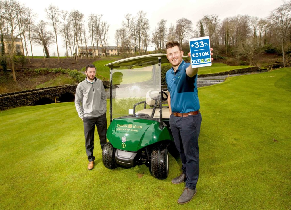 (l-r) Marcus Doyle, Director of Golf at Druids Glen Golf Club, County Wicklow, and GolfNow Sales Manager Ryan Bell