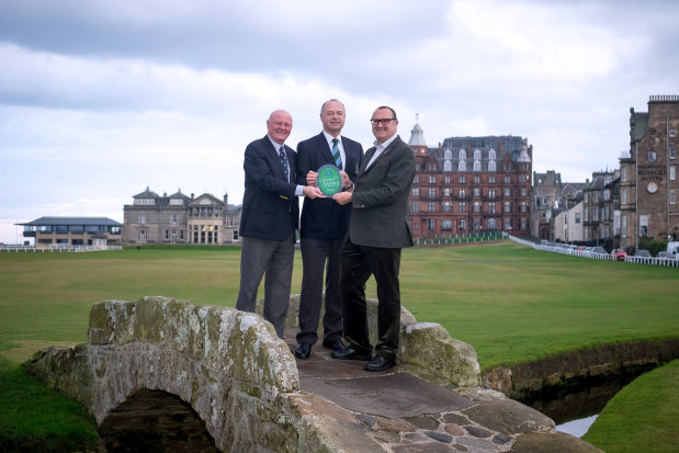 Presentation of Green Tourism GOLD Award to SAL (from left)Ewen Bowman, Operations Director (SAL), Steve Race, Links Management Committee Chairman, Jon Proctor, Green Tourism CEO