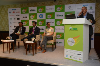 From left Anil Seolekar, Aakash Ohri, Rajiv Yadav and at the podium Rishi Narain
