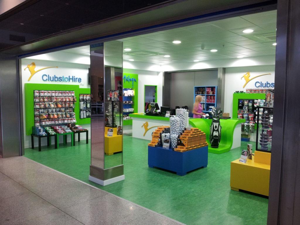 ClubstoHire terminal shop in Malaga airport