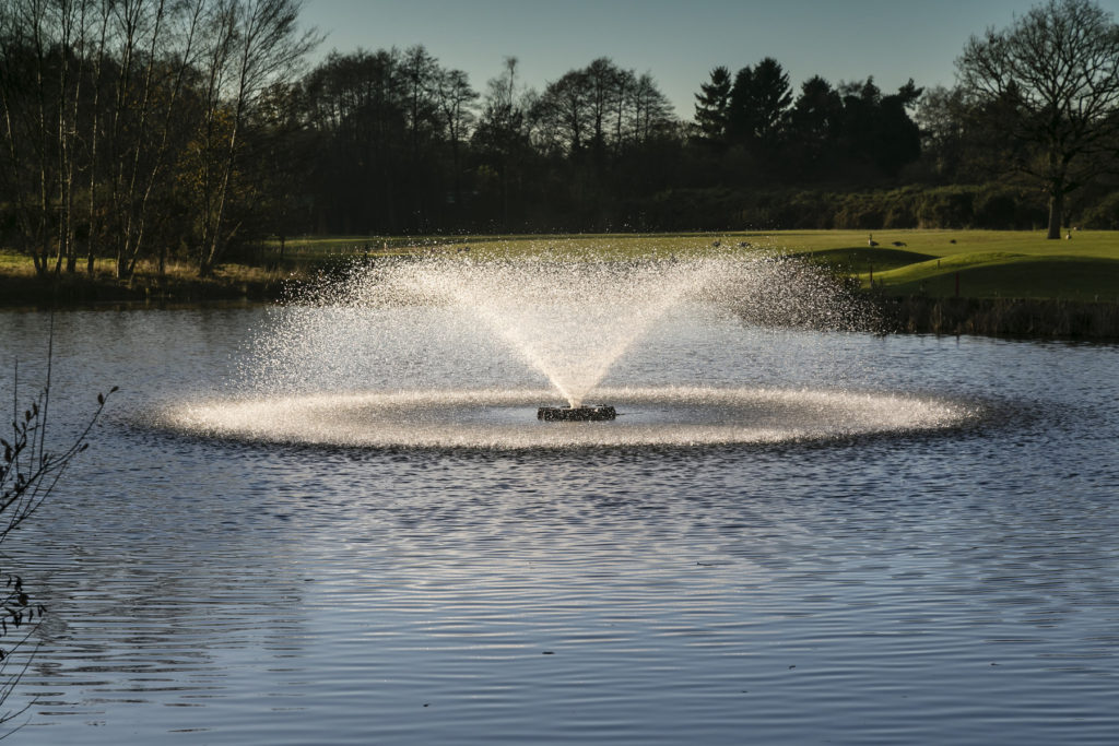The Gemini surface spray aerator provides an attractive display of three pattern options, including the Sunburst, pictured here at Old Thorns Golf and Country Club