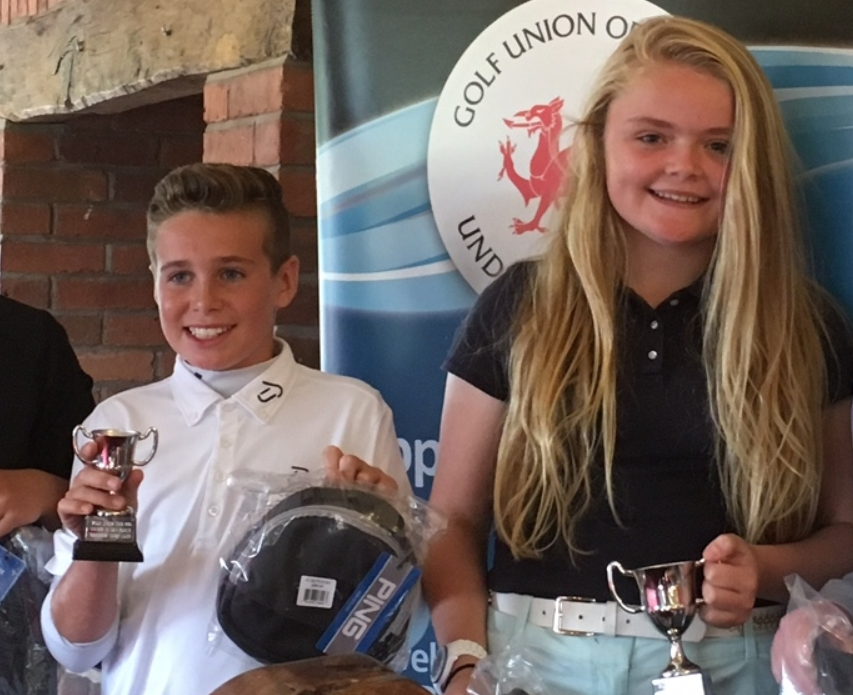 Two of last year's Junior Tour winners with their PING prizes,