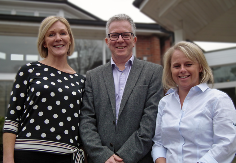from left: TGI Golf Partnership's Marketing Manager, Pauline Dale withlove.golffounder, Alastair Spink and TGI Golf Partnership Board Member and PGA Professional at Huddersfield Golf Club, Alex Keighley