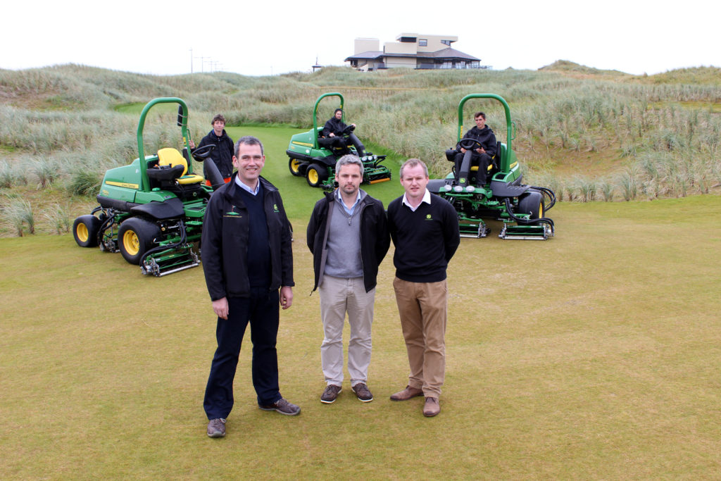 (Front left to right) Michael Weldon of John Deere dealer Seamus Weldon, Ballybunion course manager John Bambury and John Deere strategic account manager Brian D'Arcy, with the new 7200A and 7500A PrecisionCut mowers.