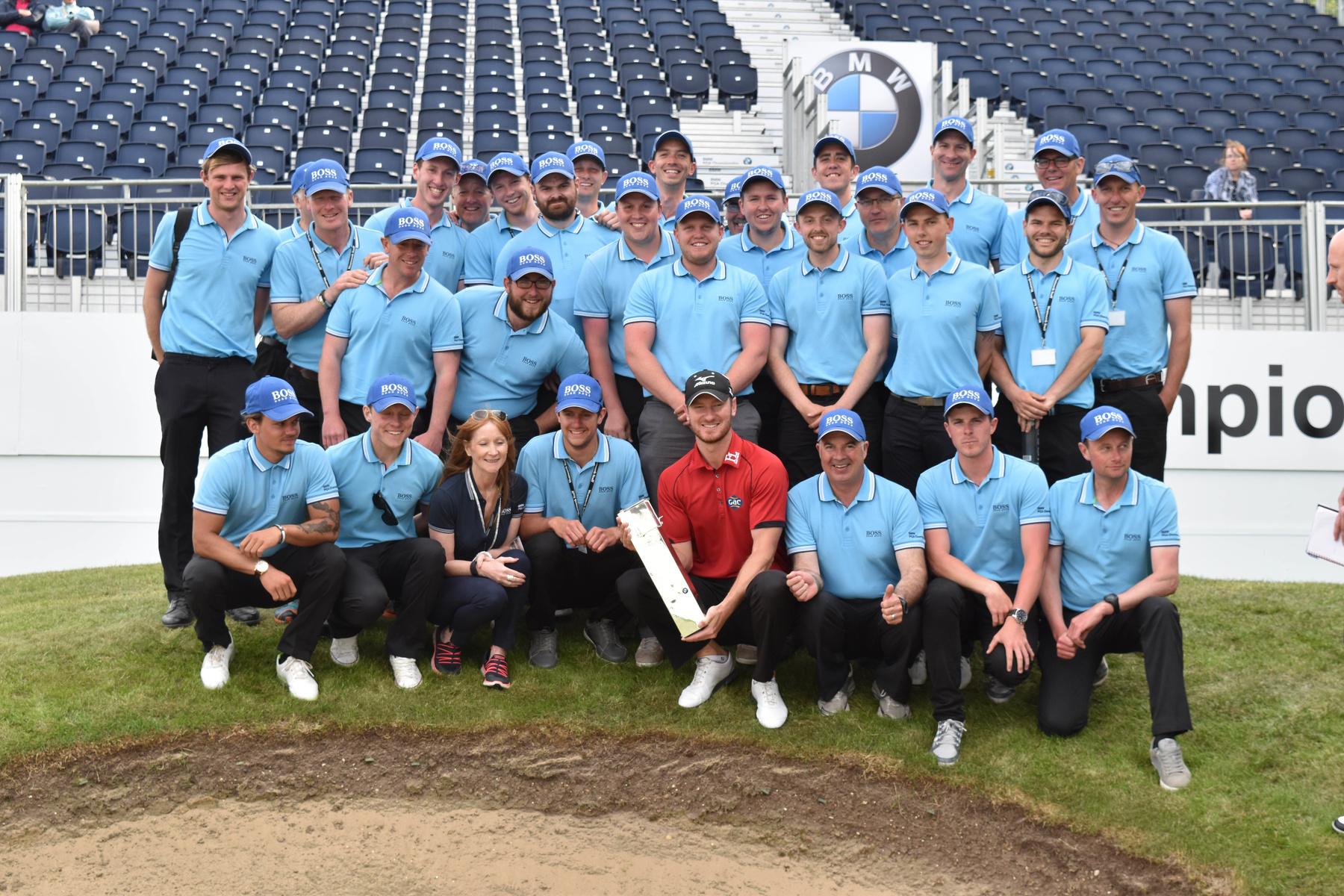 BMW PGA Championship 2016 winner Chris Wood alongside the BIGGA Support Team
