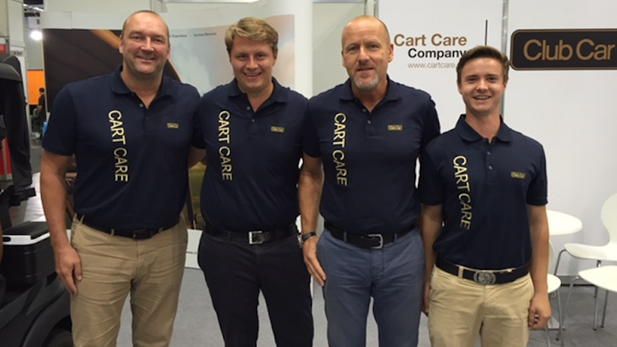 Frank Ockens (left) and Dirk Mueller-Haastert (second from right), owners of Cart Care Danmark ApS that will take on responsibility for Denmark