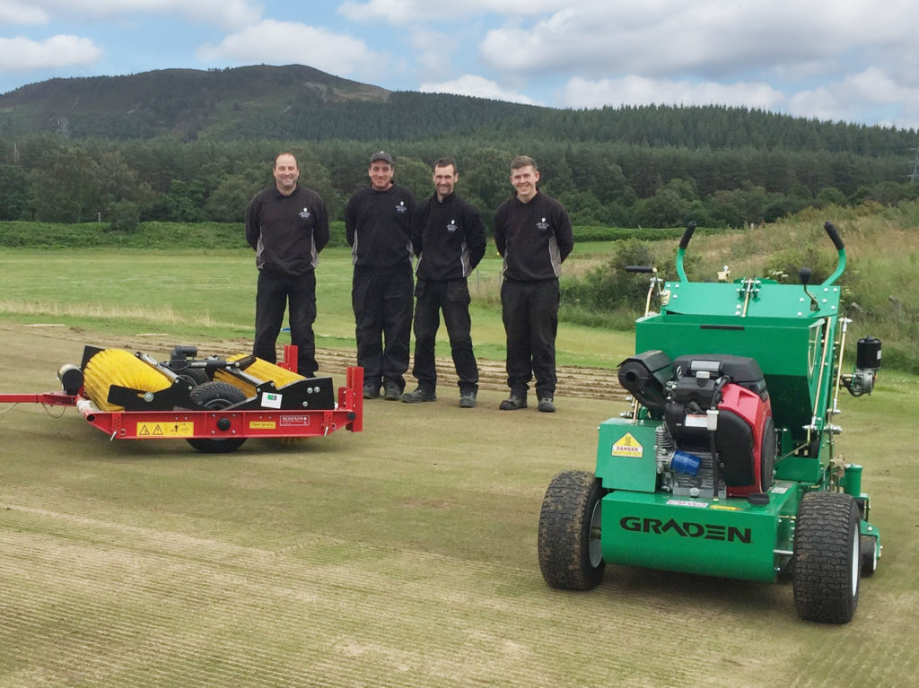 The team at Spey Valley with their Graden CSI and Speedbrush from Charterhouse Turf Machinery