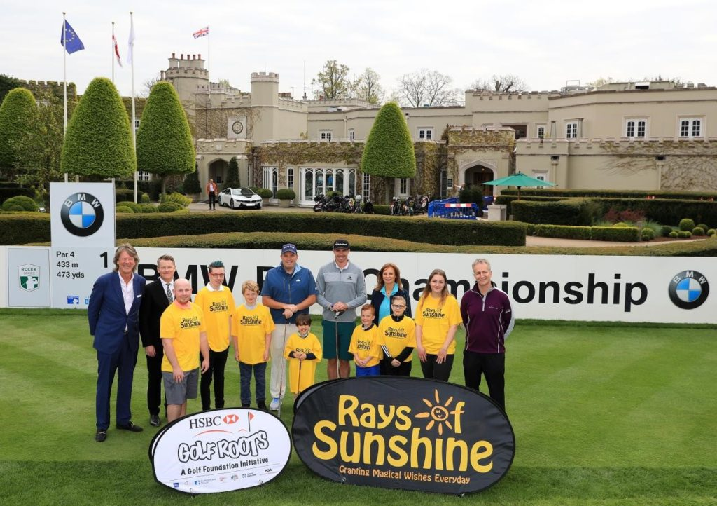 (from left) Jamie Birkmyre (Championship Director for the BMW PGA Championship), Stephen Gibson (Chief Executive of Wentworth Club), Anthony Wall, Kevin Pietersen, Jane Sharpe (CEO of Rays of Sunshine) and Brendon Pyle (Chief Executive of the Golf Foundation) along with children from Rays of Sunshine.