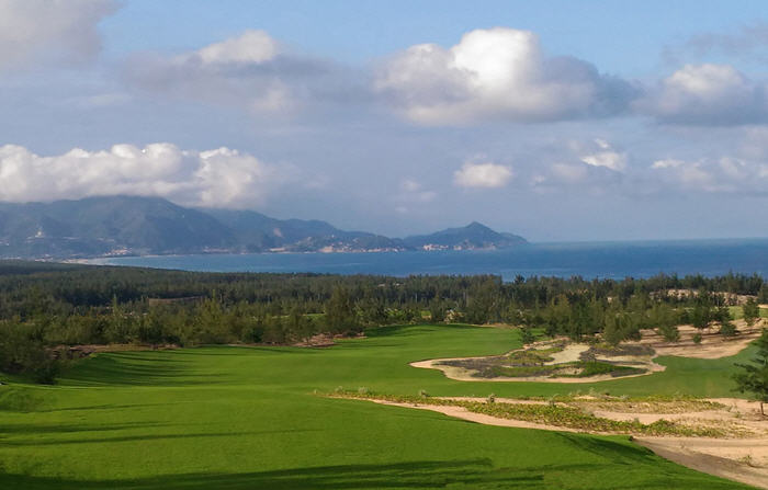 The second hole at FLC Quy Nhon Golf Links provides dramatic views over the East Sea.