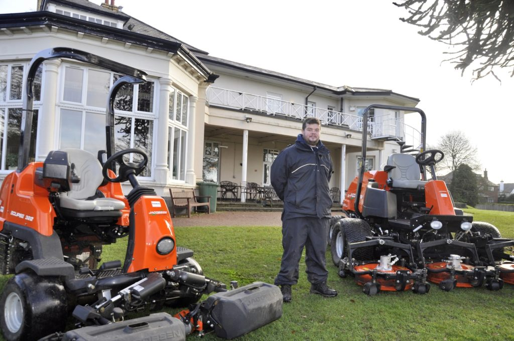Simon Ashford, Head Greenkeeper, with the new Eclipse 322 (left) and AR522 (right), in front of the Upton-by-Chester clubhouse.