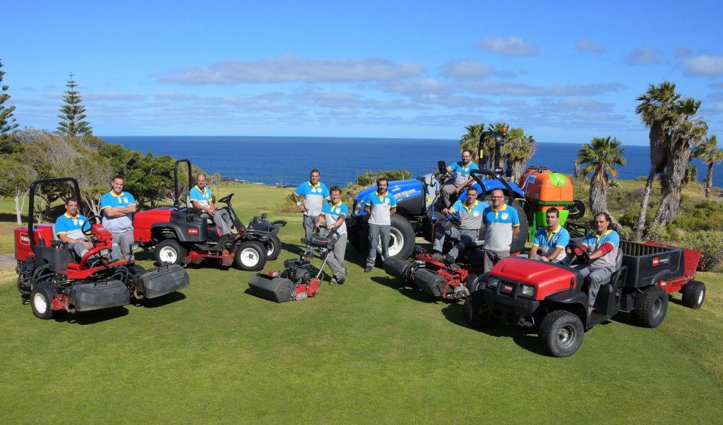The Buenavista greenkeeping staff with new machinery to further improve the standard of the course maintenance